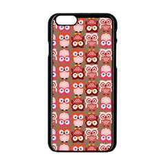 Eye Owl Colorfull Pink Orange Brown Copy Apple Iphone 6/6s Black Enamel Case by AnjaniArt