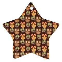 Eye Owl Line Brown Copy Star Ornament (two Sides)  by AnjaniArt