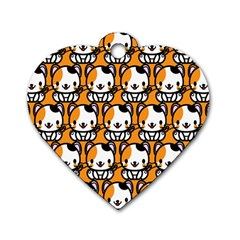 Face Cat Yellow Cute Dog Tag Heart (Two Sides) by AnjaniArt