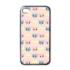 Face Cute Cat Apple iPhone 4 Case (Black)