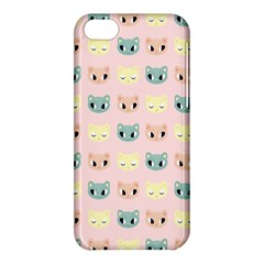 Face Cute Cat Apple Iphone 5c Hardshell Case by AnjaniArt