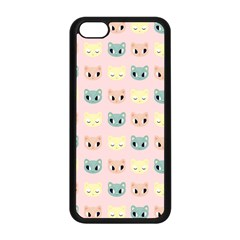 Face Cute Cat Apple Iphone 5c Seamless Case (black) by AnjaniArt