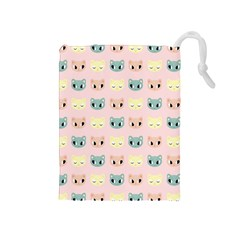 Face Cute Cat Drawstring Pouches (medium)  by AnjaniArt