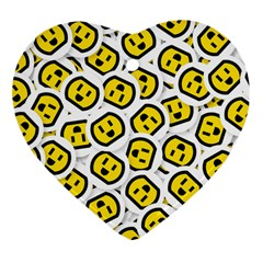 Face Smile Yellow Copy Heart Ornament (2 Sides) by AnjaniArt