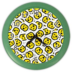 Face Smile Yellow Copy Color Wall Clocks by AnjaniArt