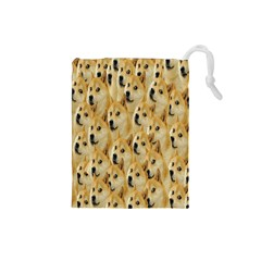 Face Cute Dog Drawstring Pouches (small)  by AnjaniArt