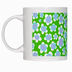 Flower Green Copy White Mugs by AnjaniArt