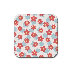 Flower Pink Rubber Square Coaster (4 pack)