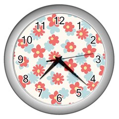 Flower Pink Wall Clocks (silver)  by AnjaniArt