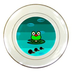 Frog Tadpole Green Porcelain Plates by AnjaniArt