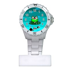 Frog Tadpole Green Plastic Nurses Watch by AnjaniArt
