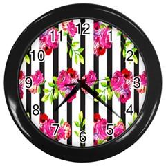Flower Rose Wall Clocks (black) by AnjaniArt