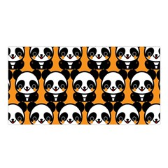 Halloween Night Cute Panda Orange Satin Shawl by AnjaniArt