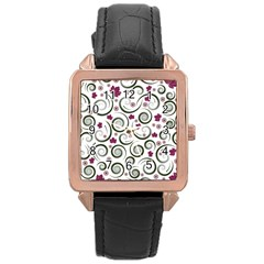 Leaf Back Purple Copy Rose Gold Leather Watch  by AnjaniArt
