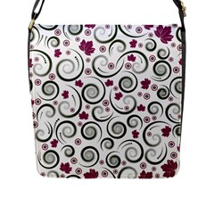 Leaf Back Purple Copy Flap Messenger Bag (l)  by AnjaniArt