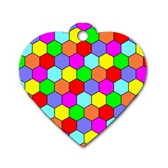 Hexagonal Tiling Dog Tag Heart (two Sides) by AnjaniArt