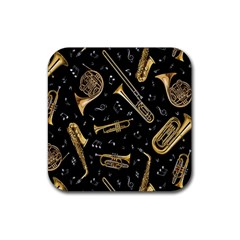 Instrument Saxophone Jazz Rubber Square Coaster (4 Pack)  by AnjaniArt