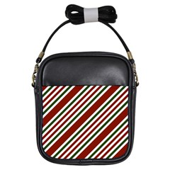 Line Christmas Stripes Girls Sling Bags by AnjaniArt