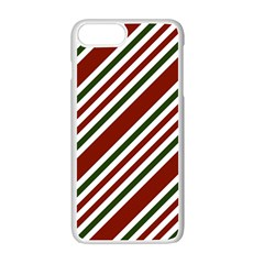 Line Christmas Stripes Apple iPhone 7 Plus White Seamless Case by AnjaniArt
