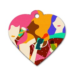 Girl Colorful Copy Dog Tag Heart (one Side) by AnjaniArt