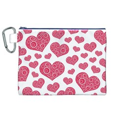 Heart Love Pink Back Canvas Cosmetic Bag (xl) by AnjaniArt