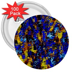 Network Blue Color Abstraction 3  Buttons (100 Pack)  by AnjaniArt