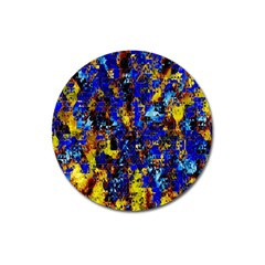 Network Blue Color Abstraction Magnet 3  (round) by AnjaniArt
