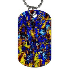 Network Blue Color Abstraction Dog Tag (one Side) by AnjaniArt