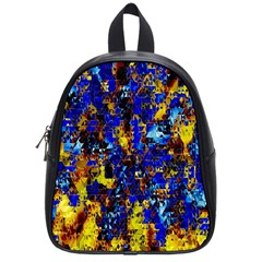 Network Blue Color Abstraction School Bags (small)  by AnjaniArt