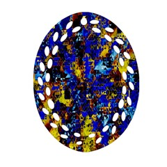 Network Blue Color Abstraction Oval Filigree Ornament (2 Side)  by AnjaniArt