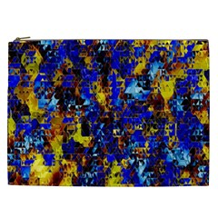 Network Blue Color Abstraction Cosmetic Bag (xxl)  by AnjaniArt