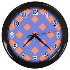 Orange Blue Wall Clocks (black) by AnjaniArt