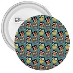 Owl Eye Blue Bird Copy 3  Buttons by AnjaniArt