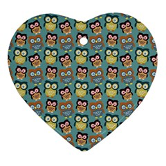 Owl Eye Blue Bird Copy Ornament (heart)  by AnjaniArt