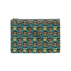 Owl Eye Blue Bird Copy Cosmetic Bag (medium)  by AnjaniArt