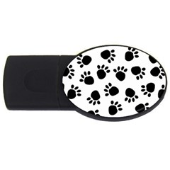 Paws Black Animals Usb Flash Drive Oval (2 Gb)  by AnjaniArt