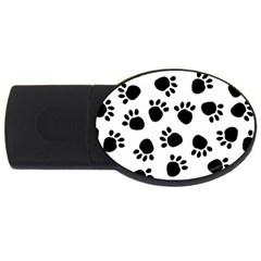 Paws Black Animals Usb Flash Drive Oval (4 Gb)  by AnjaniArt