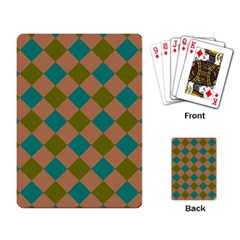 Plaid Box Brown Blue Playing Card by AnjaniArt
