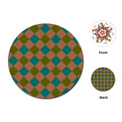Plaid Box Brown Blue Playing Cards (round)  by AnjaniArt