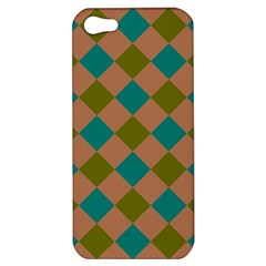 Plaid Box Brown Blue Apple Iphone 5 Hardshell Case by AnjaniArt