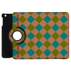 Plaid Box Brown Blue Apple iPad Mini Flip 360 Case by AnjaniArt