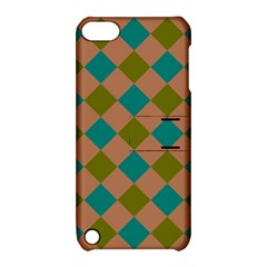 Plaid Box Brown Blue Apple Ipod Touch 5 Hardshell Case With Stand by AnjaniArt