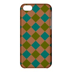 Plaid Box Brown Blue Apple Iphone 5c Hardshell Case by AnjaniArt