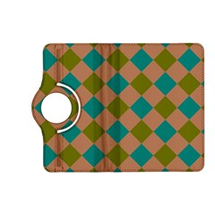 Plaid Box Brown Blue Kindle Fire Hd (2013) Flip 360 Case by AnjaniArt