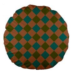 Plaid Box Brown Blue Large 18  Premium Flano Round Cushions by AnjaniArt