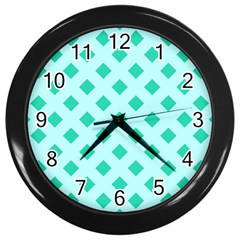 Plaid Blue Box Wall Clocks (black) by AnjaniArt