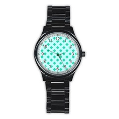 Plaid Blue Box Stainless Steel Round Watch by AnjaniArt