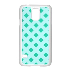 Plaid Blue Box Samsung Galaxy S5 Case (White) by AnjaniArt