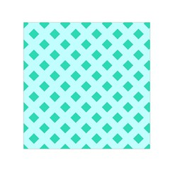 Plaid Blue Box Small Satin Scarf (square) by AnjaniArt