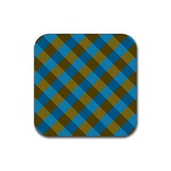 Plaid Line Brown Blue Box Rubber Square Coaster (4 Pack)  by AnjaniArt